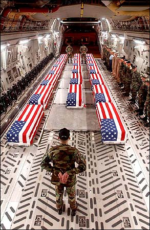 Caskets from Bush's terrorism in Iraq