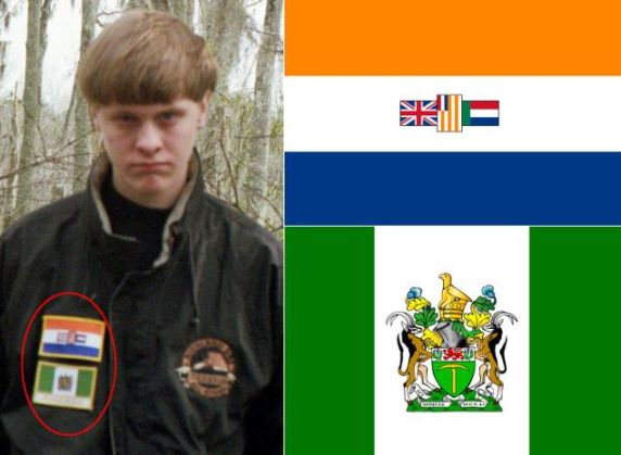 Dylann Roof with South Africa, Rhodesia flags
